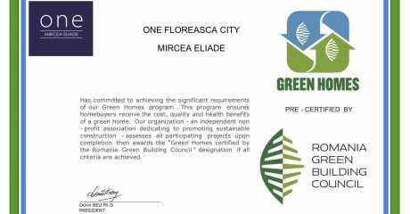 "One Mircea Eliade granted ""Green Homes"" pre-certification"